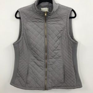 Grey Quilted Vest with Gold Zipper